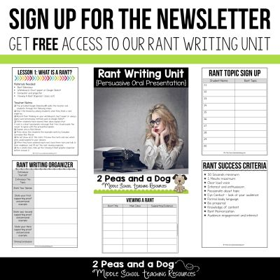 Inspire your students to write with this FREE Ranting Writing Unit. Sign up for our newsletter to get access to this engaging writing unit from 2 Peas and a Dog. #writing #middleschool #highschool
