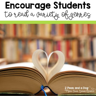 Ideas from teachers on how to get students to read a variety of genres from the 2 Peas and a Dog blog.