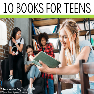 10 books for teen readers. This book list for teen readers is a mix of new and old titles that would be a great addition to any bookshelf, classroom or school library from 2 Peas and a Dog. #reading #teenreads #teenbooks #classroombooks #education