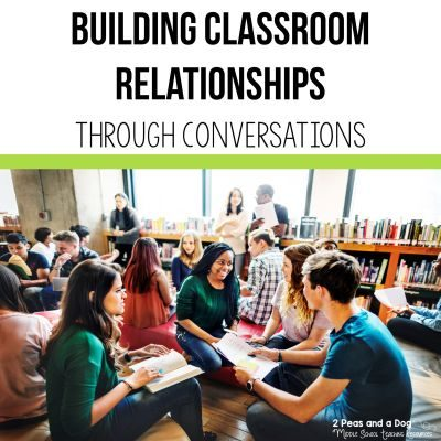 Building classroom relationships through conversations is a key tool in any teacher's strategy kit. Giving students a voice in the classroom can help with classroom management and student motivation. Read more in this blog post on the 2 Peas and a Dog website. #classroom #management #classroommanagement #classsroomcommunity