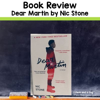 Dear Martin by Nic Stone is a fantastic novel to add to any high school classroom library. Read more about this novel in this book review from 2 Peas and a Dog. #bookreview #highschoolbooks #englishlanguagearts
