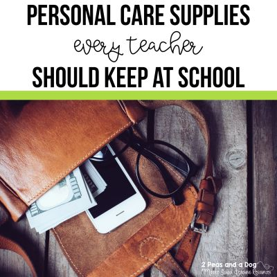Here is a list of personal care items that would beneficial for teachers to keep at school from 2 Peas and a Dog. #teachers #teacherlife #schoolsupplies
