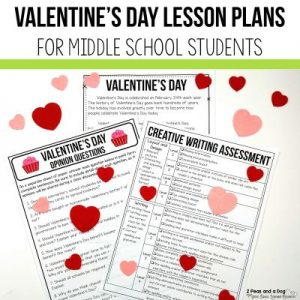 Valentine's Day is not just for elementary students - middle school students can celebrate this fun holiday. Read about 5 different Valentine's Day lesson plans for middle school students that are engaging, curriculum focused and rigourous from 2 Peas and a Dog. #middleschool #lessonplans #valentinesday #englishlanguagearts