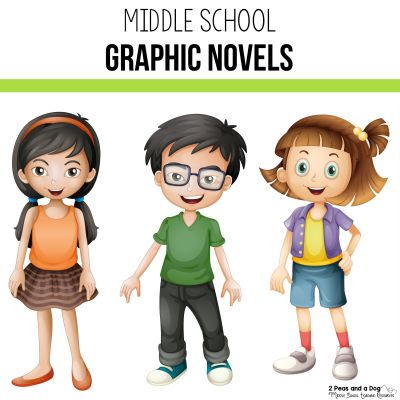 Graphic novels are an engaging genre to add to your middle school classroom library. Check out this list of must have graphic novels for your school from 2 Peas and a Dog. #reading #middleschool #graphicnovels