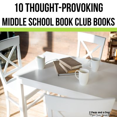 10 Thought-Provoking Middle School Book Club Books - find great ideas for engaging and relevant middle school books for your English Language Arts classroom by 2 Peas and a Dog. #englishlanguagearts #middleschool #yalit #middleschoolbooks