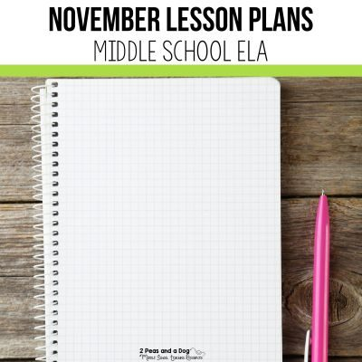 Find engaging November Middle School ELA lessons in this blog post. Read this blog post to see what I teach during the month of November for middle school ELA. #middleschool #middleschoolela #remembranceday #veteransday #englishlanguagearts