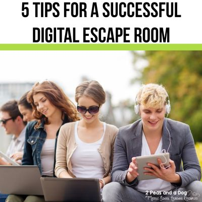 5 tips for a successful digital escape room in your classroom for teachers from 2 Peas and a Dog. #edtech #escaperoom #digitalescape #digitalescaperoom