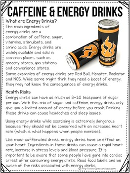 Dangers of Caffeine and Energy Drinks Non-Fiction Article