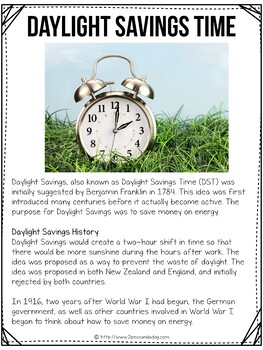 Daylight Saving Non-Fiction Article