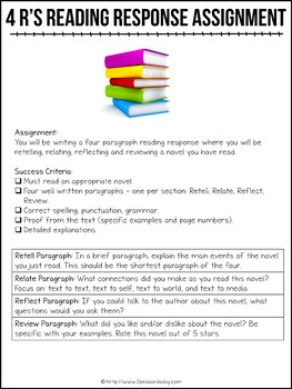 Retell, Relate, Reflect, Review Book Report