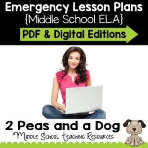 Middle School ELA Emergency Lesson Plans for Distance Learning