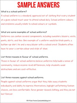 School Uniforms Non-Fiction Article