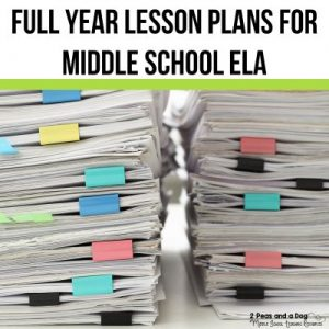 Full Year Lesson Plans For Middle School ELA from 2 Peas and a Dog