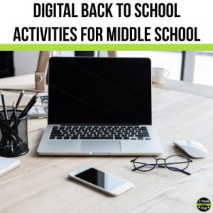 Engaging and relevant digital back to school activities for middle school students from 2 Peas and a Dog.