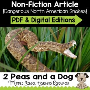 Dangerous North American Snakes Non-Fiction Article