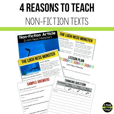 Teaching non-fiction in middle school is often overlooked. Learn why you should teach non-fiction in middle school as well as three different lesson ideas from 2 Peas and a Dog.