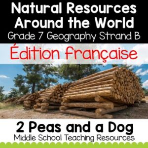 Grade 7 Geography Natural Resources Around the World Use FRENCH