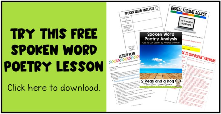 Free spoken word poetry lesson image.