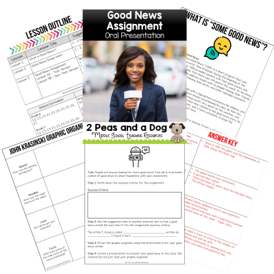Students are constantly exposed to the news. It is important to showcase the good events that occur as well as the current events. In this assignment, students find a good news event to share with the class in an oral presentation. Students can present this information in a video format or a live presentation. This can be used with any non-fiction good news article.