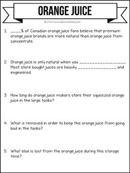 Media Literacy: Consumer Awareness Lesson - Orange Juice
