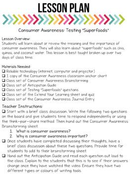 Media Literacy: Consumer Awareness Lesson - Superfoods