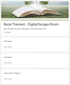 Book Themed Digital Escape Room   Distance Learning
