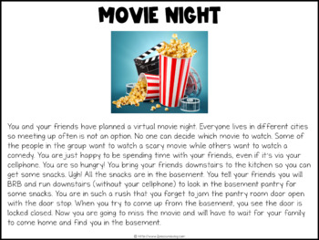 Movie Night Digital Escape Room   Distance Learning